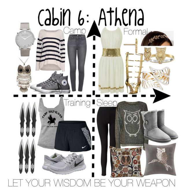 """""""Cabin 6: Athena"""" by aquatic-angel ❤ liked on Polyvore featuring Urban Outfitters, Giuseppe Zanotti, Anna Beck, Velvet by Graham & Spencer, Paige Denim, Converse, Larsson & Jennings, NIKE, Miss Selfridge and WearAll"""