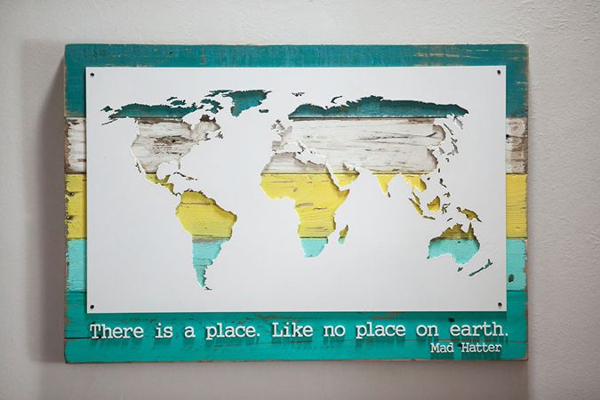 Bring the world to your wall, stylishly.  Made from upcycled wood.