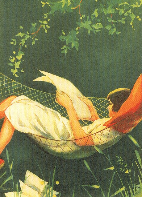 In the HAMMOCK by Martta Maria WENDELIN (Artist. Finland, 1893-1986) ... © Martta Wendelin art museum; Tuusula, Finland ... Young girl READING outdoors