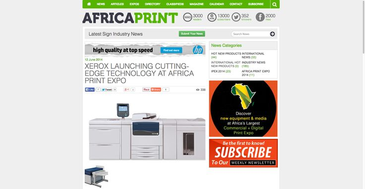 XEROX LAUNCHING CUTTING-EDGE TECHNOLOGY AT AFRICA PRINT EXPO