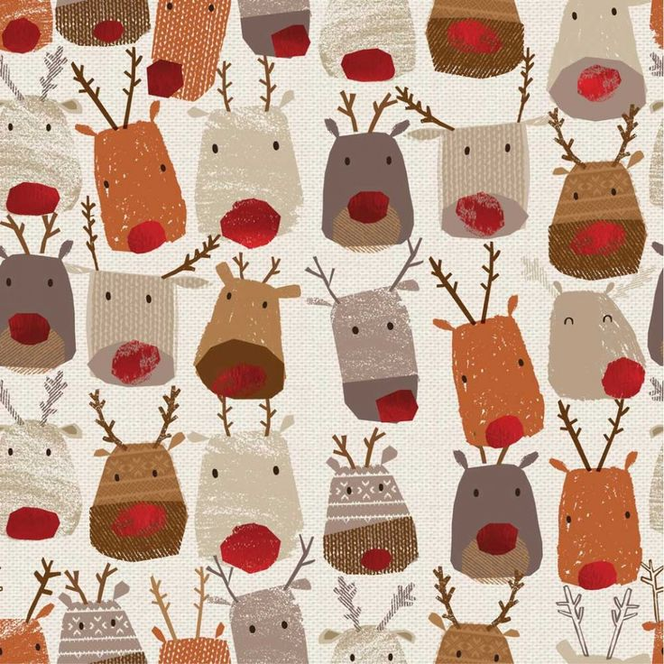 Reindeer heads wrapping paper paperchase