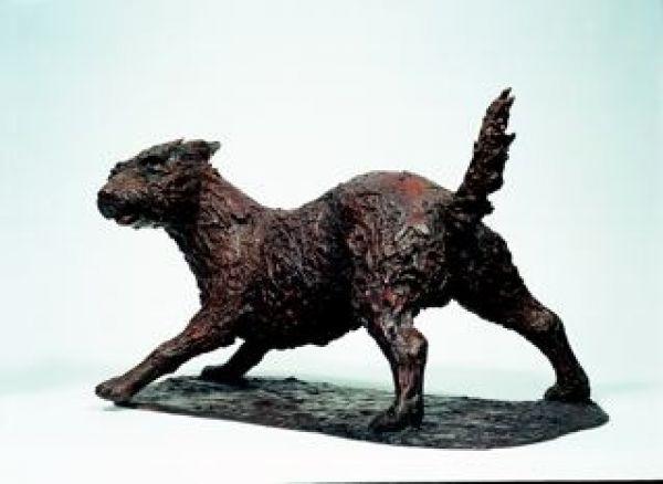 #Bronze #sculpture by #sculptor Jill Tweed titled: 'Holy Terror (Bronze Mongrel Dog Pet statue/sculpture for sale)'. #JillTweed