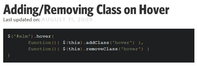 Ajouter ou supprimer une class suivant le #hover / #Jquery #html #css