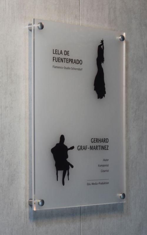 Schild Flamenco-Studio aus Milchglas (sign)