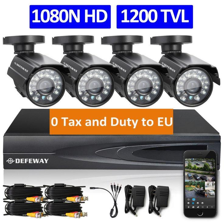 DEFEWAY 1080N HDMI DVR 1200TVL 720P HD Outdoor Home security Camera System 4CH CCTV Video security DVR Kit AHD Camera Set