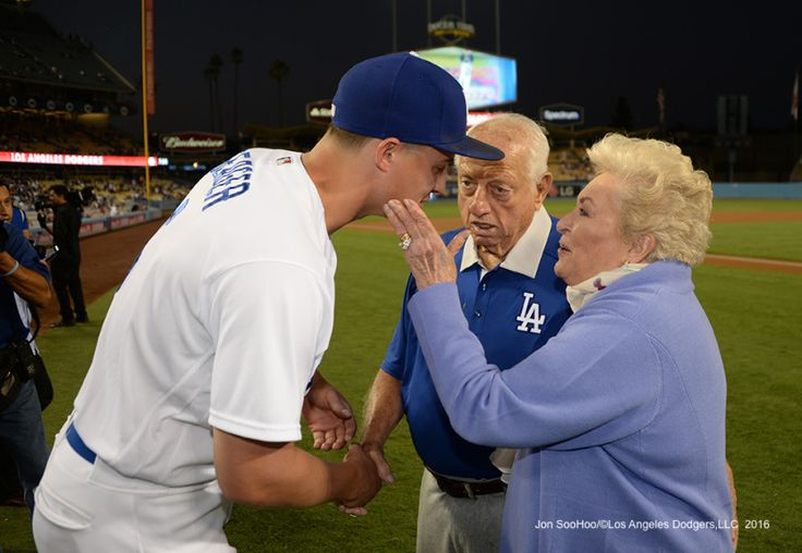 Corey Seager with the Lasordas prior to game against the Colorado Rockies Thursday, September 22, 2016 at Dodger Stadium. Photo by Jon SooHoo/©Los Angeles Dodgers,LLC 2016