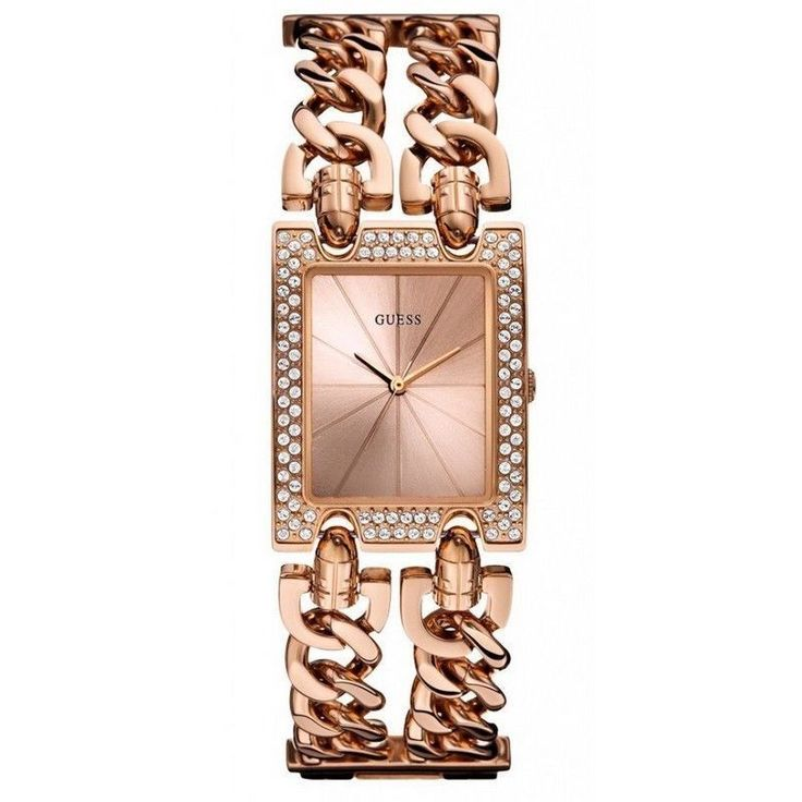 Guess W0072L3 Women's Rose Gold Steel Chain Band With Sunray Analog Dial  Watch