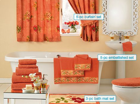 Royal garden peach towel bathroom set bathroom for Peach bathroom set