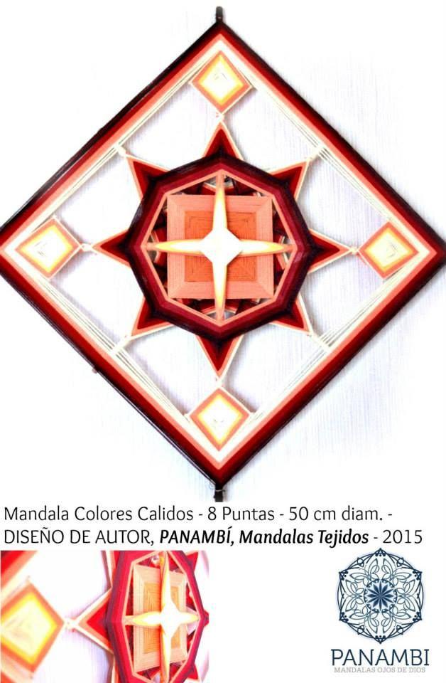 MANDALA COLORES CALIDOS - 8 PUNTAS - 50 cm de diámetro aprox - confeccionado a base de madera e hilo con aplicaciones en perlas de madera. DISEÑO DE AUTOR - PANAMBÍ + INFO: www.facebook.com/... MANDALAS MANDALAS TEJIDOS OJOS DE DIOS SIKULI