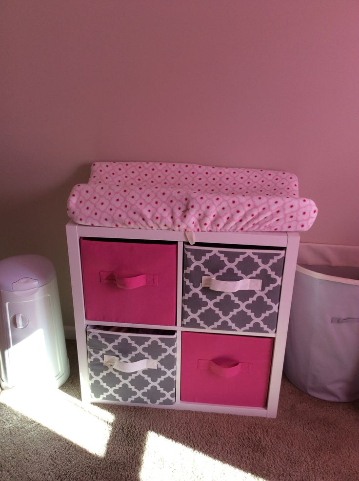 Easy and cheap changing table for the nursery. It looks very chic and makes the room delicate. I love how it looks in my baby girl room. Ideas