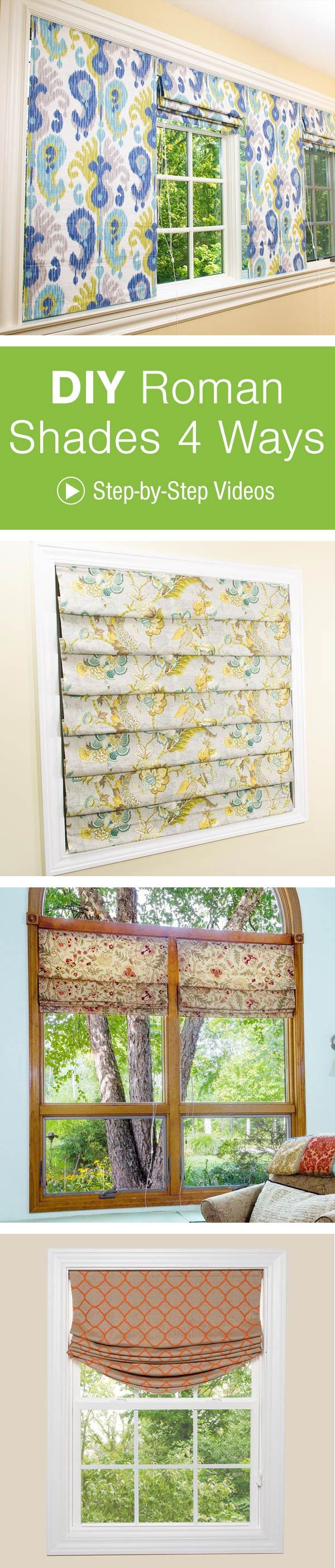 Ro Ro Roman Shade Curtain Patterns - Create custom roman shades for every room in your home with 4 great tutorials