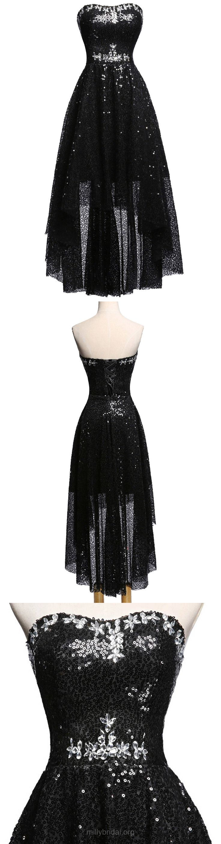 Black Prom Dresses High Low, A-line Party Dresses Sweetheart, Sequined Formal Evening Dresses Asymmetrical Beading