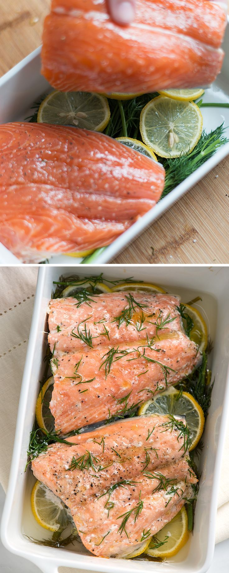 A quick and easy recipe for oven baked salmon fillets over lemon slices and fresh dill. You can even make this in less than 30 minutes. From inspiredtaste.net | @inspiredtaste
