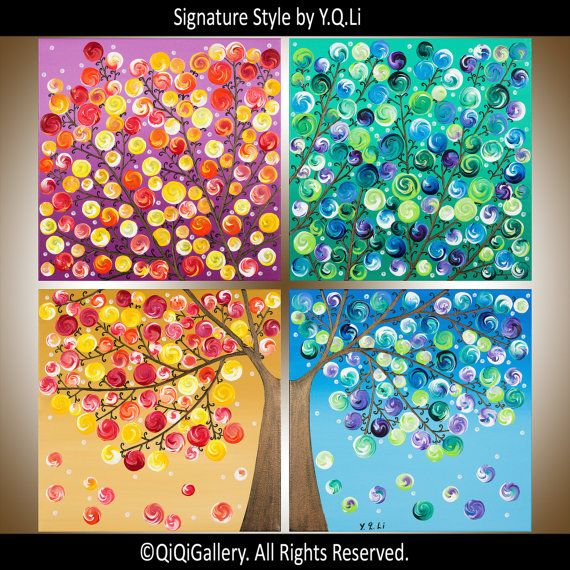 "Original Four Seasons tree Painting  Large Square Modern art wall decor wall art  Tree of life ""365 Days of Happiness II"" by qiqigallery"