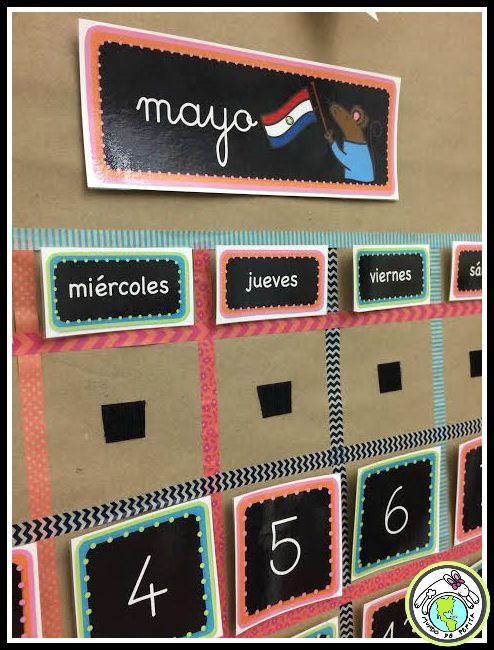 1610 best spanish i collaborative board images on pinterest for Calendar bulletin board printables