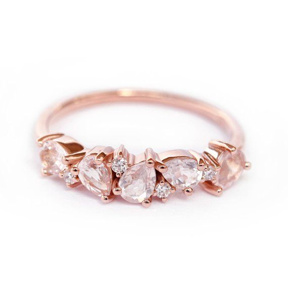 Morganite Pear & Diamond Wedding, Rose Gold Morganite Diamond Ring, Unique Diamond Wedding Ring, Pear Morganite Band Asteroid Cluster Ring – Ring