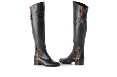 Le Pepe black leather knee-high boots with brown buckles