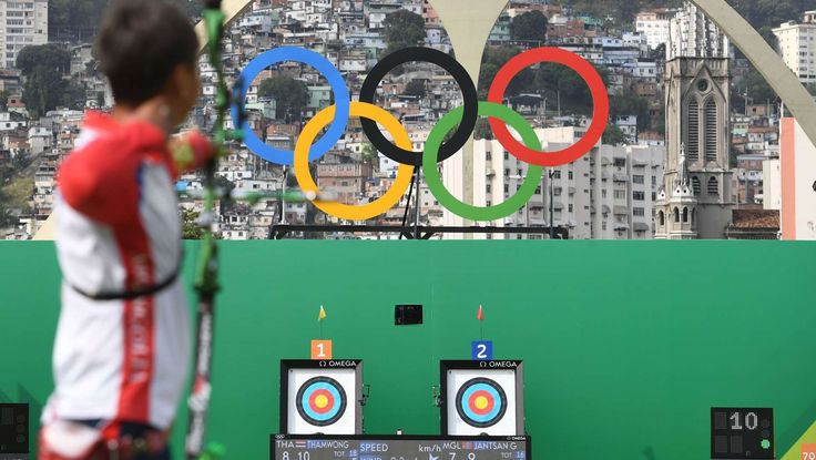 2016-08-08-mens-archery-rio:   Gantugs Jantsan of Mongolia competes during men's individual eliminations in the Rio 2016 Summer Olympic Games at Sambodromo.
