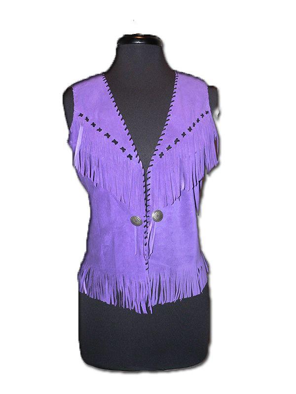 Diamond DIVA Western Apparel Store - Purple Leather Fringe Vest, €210,18 (http://www.diamondd.us/fashion-basic-shades/purple-leather-fringe-vest/)