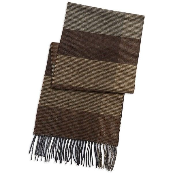 Black Brown 1826 Colorblocked Plaid Scarf ($30) ❤ liked on Polyvore featuring men's fashion, men's accessories, men's scarves and tan