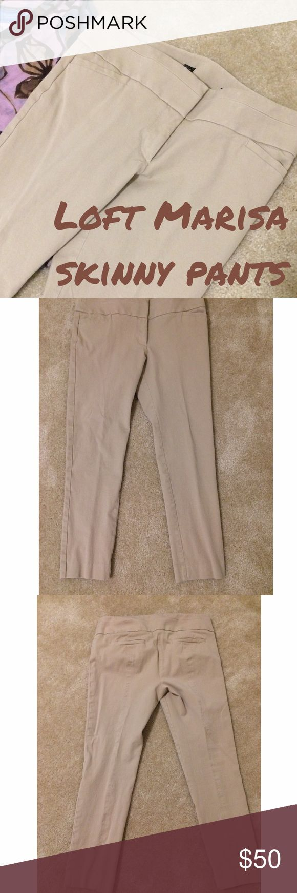 🌼Loft Marisa skinny khaki pants 🌟SALE Buy $50 or more of items marked 🌼, get a $15 item for free🌟 Loft Marisa skinny pants in khaki...EUC..about 15.5 in flat at waist..about 9 in rise.about 24 in inseam LOFT Pants Skinny