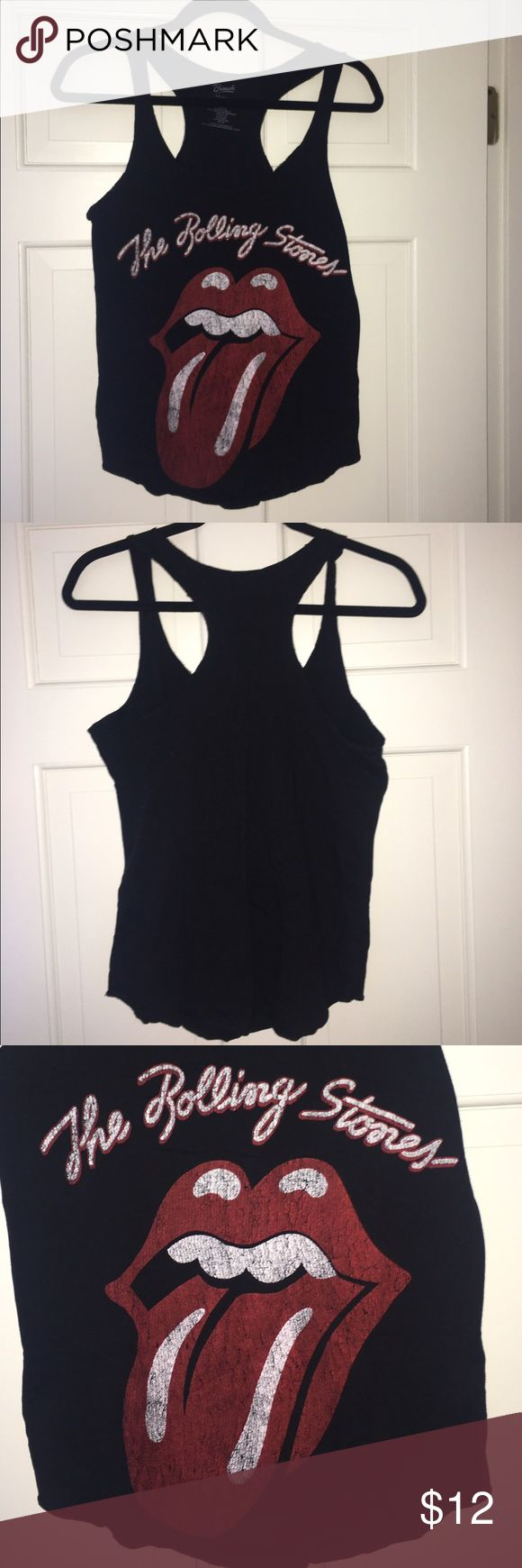 Black Rolling Stone Racerback Tank Black Rolling Stone Razorback Tank! Super cute! Lightly worn! Size:L, can fit a M! Brand listed for exposure Urban Outfitters Tops Tank Tops