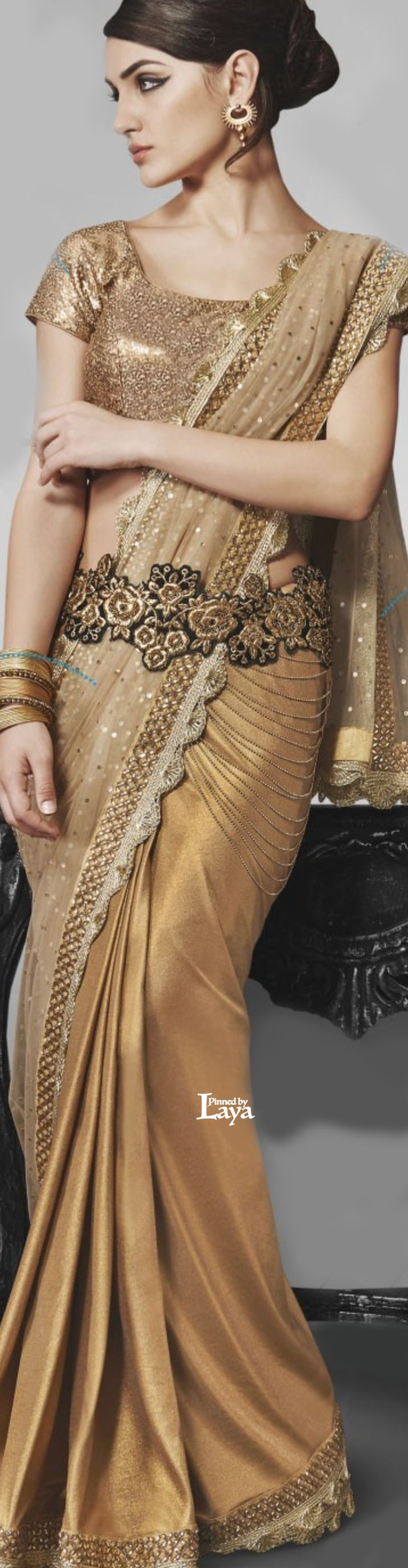 ♔LAYA♔GOLD COLOR DESIGNER VIKRAM FADNIS PARTY WEAR SAREE♔♔♔