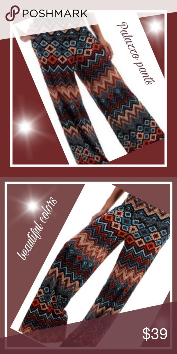 Gorgeous Aztec Palazzo pants Brand new , never worn , straight from boutique,  Gorgeous Palazzo pants, very comfortable and soft.great for lounging around the cruise ship,  around beach, or any trip or occasion. Dress them up or wear casual, I'm really loving these colors they go with so much.and the comfy feel is great. Boutique/ cezanne Pants