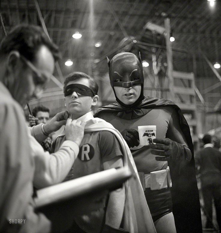 "Batman and Robin (Adam West and Burt Ward) on the ""Batman"" set in Los Angeles in 1966.   Photographer: Richard Hewett - for Look magazine   Via: SHORPY"