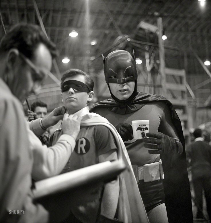 """Batman and Robin (Adam West and Burt Ward) on the """"Batman"""" set in Los Angeles in 1966. From a series of photos taken by Richard Hewett for Look magazine."""