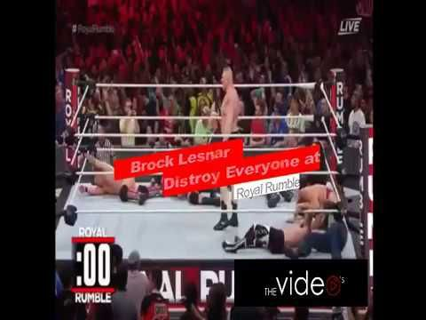 brock lesnar returns to royal rumble and distroy everyone (HD)