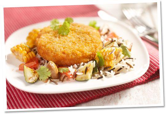Paprika kaasrondo met wilde rijst en roerbakgroente