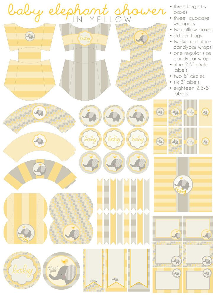 DIY PDF Printable Yellow Baby Shower, Party Package, Baby Elephant Shower, Girls or Boys Gender Neutral baby shower.