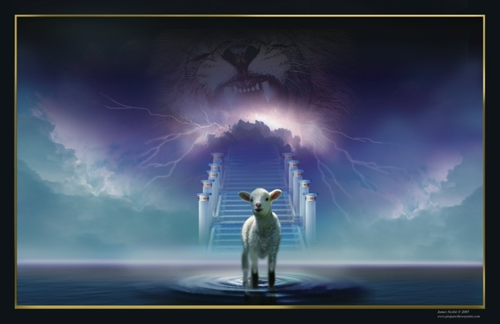 Unveiled -This prophetic image depicts Jesus Christ as the only One who is forever both God and Man.  It is taken from a description of Jesus near the Throne of God in Revelation 5:5-6. As the angel was speaking of John he called Jesus the Lion of the Tribe of Judah, but when John looked to see Him he saw a Lamb standing as if He'd been slain.