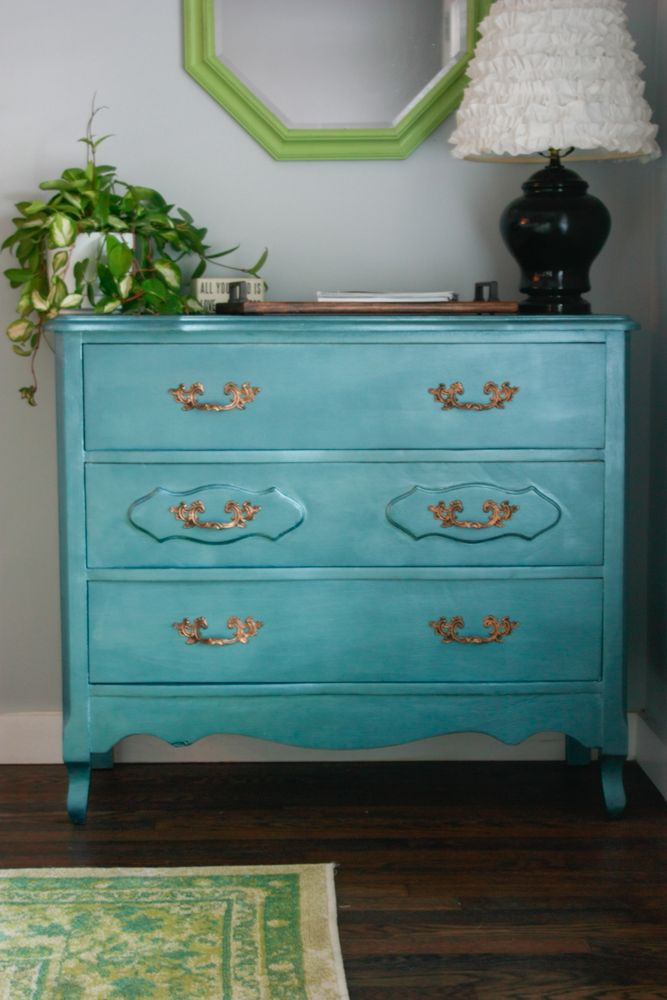 Drab To Fab Dresser Makeover With Metallic Paint