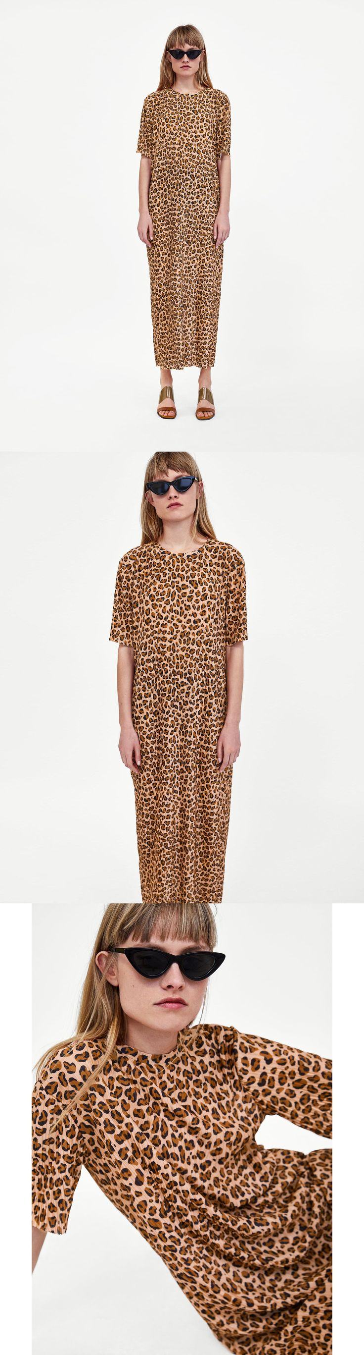 Pleated Leopard Print Dress // 35.90 USD // Zara // Loose-fitting dress with round neckline and short sleeves. HEIGHT OF MODEL: 178 CM / 5′ 10″