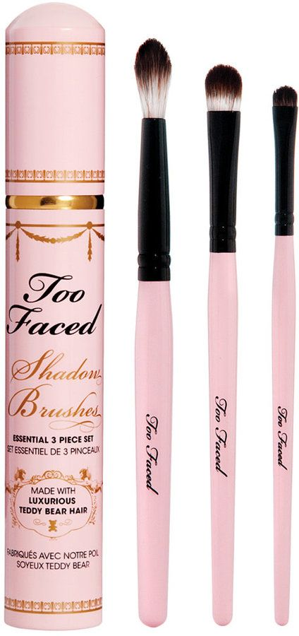 Too Faced Shadow Brushes Essential 3 Piece Set. An expertly edited kit of three, must-have eye brushes including a liner/smudger,