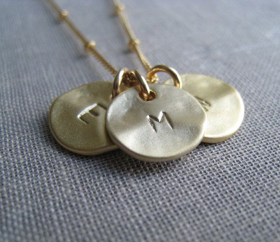 Personalized jewelry,  three initial necklace, gold disc, personalized necklace, sisters, friendship, family jewelry
