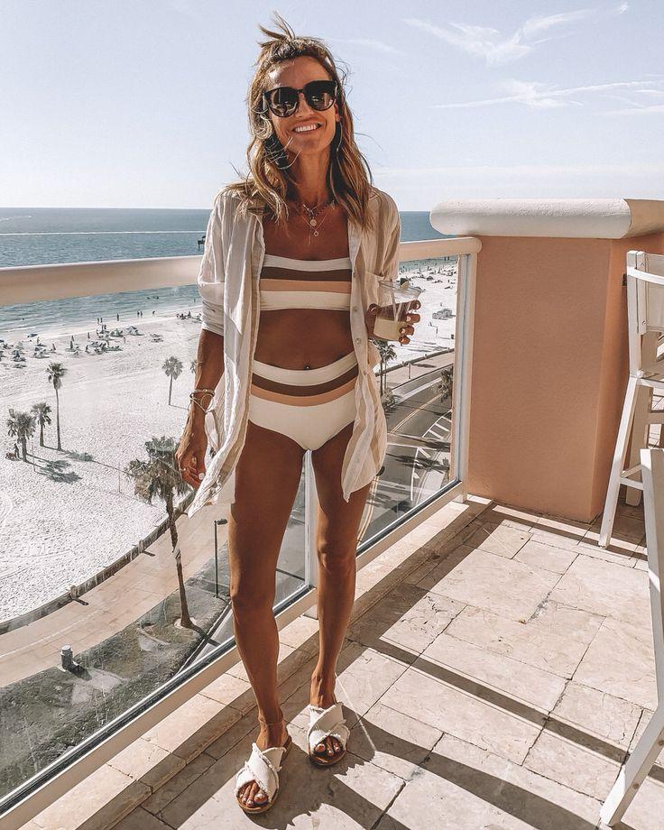 Karina Reske | Hyatt clearwater beach | tetro stripe bathing suit | high waist b…