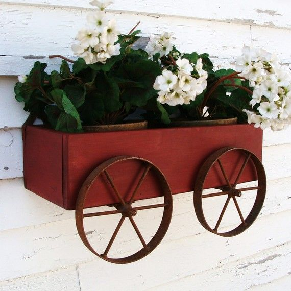 Planter Box Wall Hanging Wagon Rustic Iron by baconsquarefarm, $70.00 (I'm sure you could make this for less!)