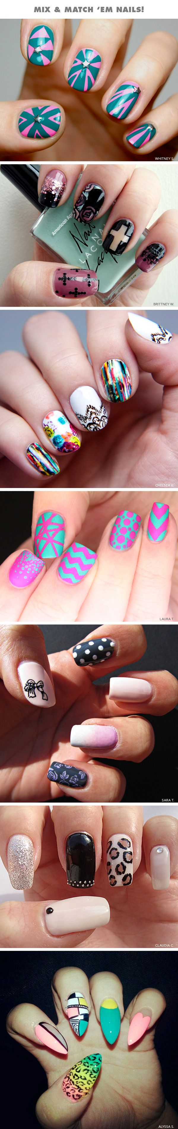 Mix-and-Match Nails! #nail #nails #nailart #unha #unhas #unhasdecoradas