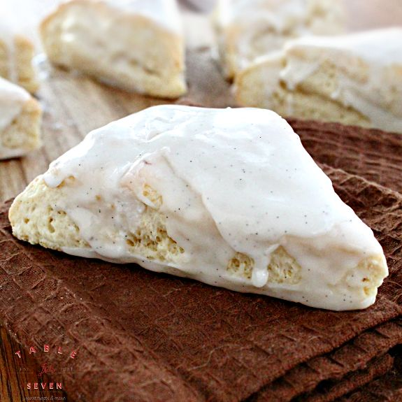 Soft, fluffy scones made with vanilla beans and topped with a sweet vanilla glaze. See it HERE! Vanilla Bean Scones submitted by Table for Seven You May Also LikeCaramel Sweet Potato PieBlueberry MuffinsLemon RollsPerfect Vanilla Sheet Cake