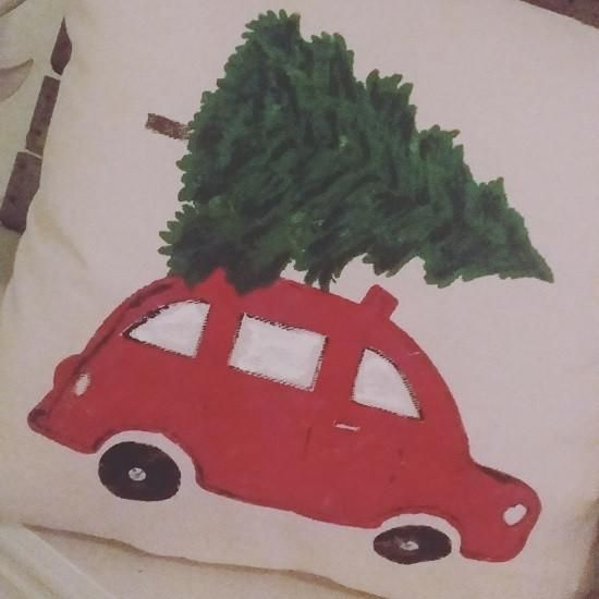 Bringing Home the Tree holiday pillow - Merry Christmas!