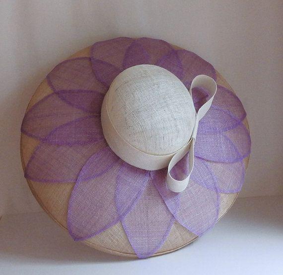 Lavendel bloem brede rand Sinamay hoed
