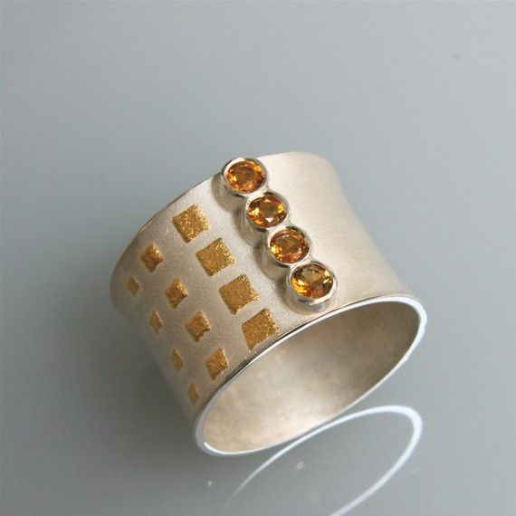 """Modern contemporary silver ring with 24 kt gold applications ( kum boo) """"winter sun"""" with 4 citrins on Etsy, $230.58"""