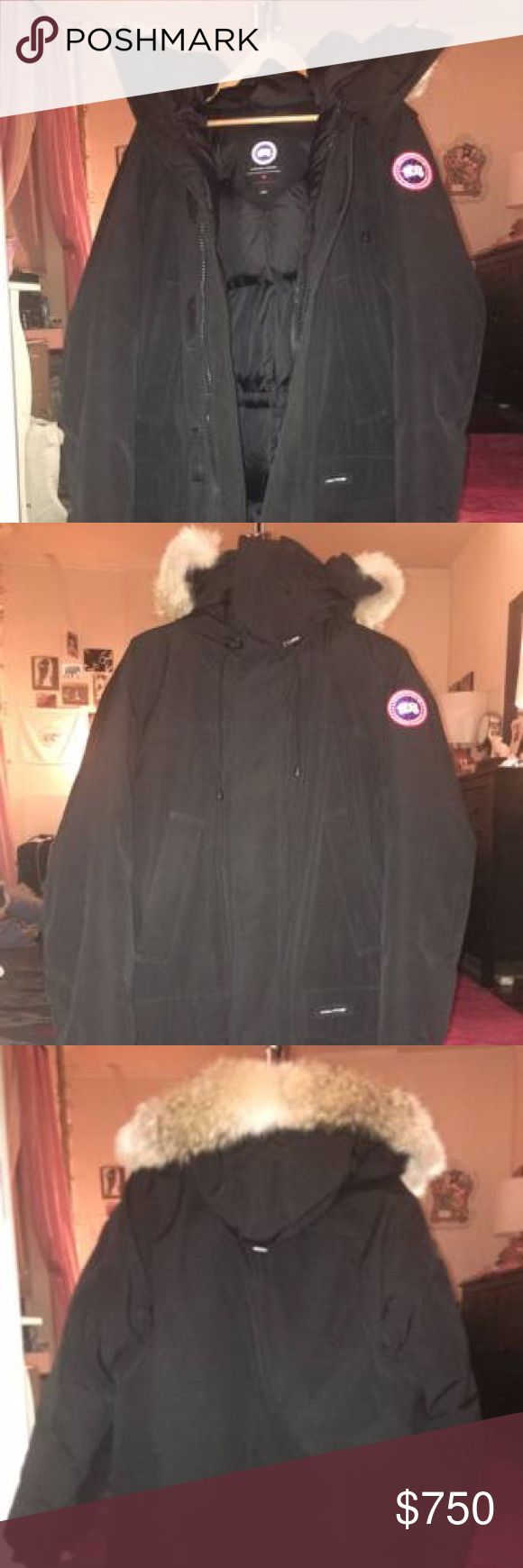 Canada Goose Langford Parka FurTrimmed Hood, XL I purchased this jacket very recently as a birthday gift for my husband and this week we found out that we will be moving to Central America in January so he won't be needing it after all! It's brand new in excellent condition as he only wore it once around the house! I spent nearly $1000 with shipping so I'm pretty set at $750 although I'm willing to negotiate. - New w/out tags - Black, XL mens - Parka Canada Goose Jackets & Coats Puffers