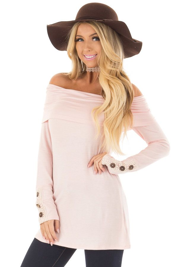 819c54e33876e Light Pink Fold Over Off the Shoulder Top. Lime Lush Boutique ...