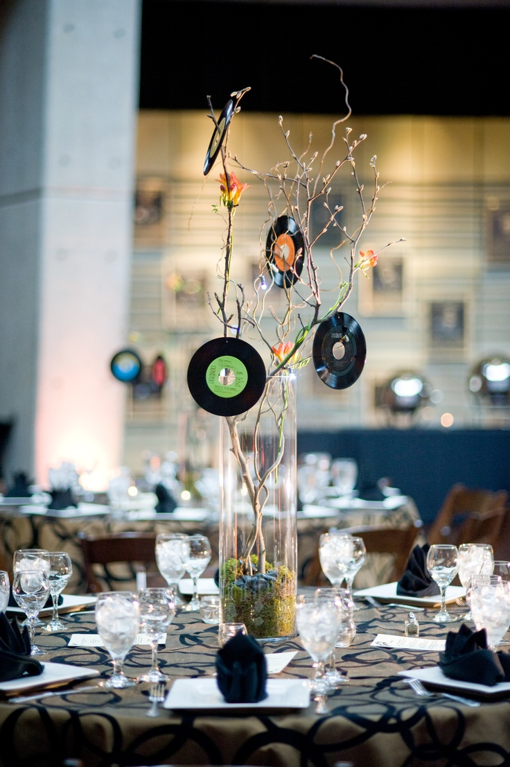 Centerpiece made with vinyl records