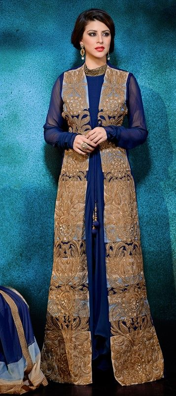 434363 Beige and Brown, Blue  color family Party Wear Salwar Kameez in Faux Georgette fabric with Lace, Machine Embroidery, Sequence work .