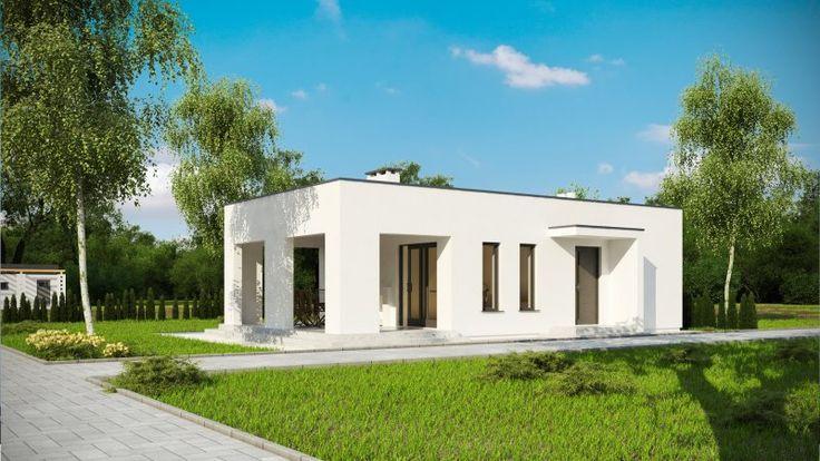 Projekt budynku rekreacyjnego, parterowego, niepodpiwniczonego, z sauną, pokojem wypoczynkowym, aneksem kuchennym i łazienką.